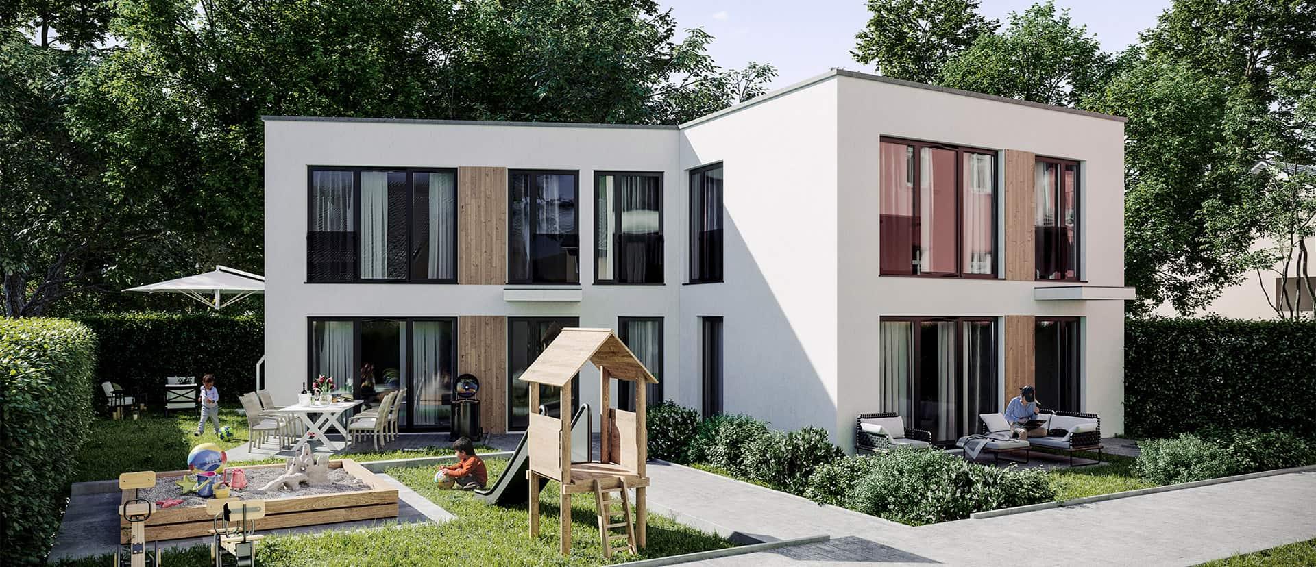 Doppelhaushaelfte mit Terrasse und Garten, Spielplatz für Kinder