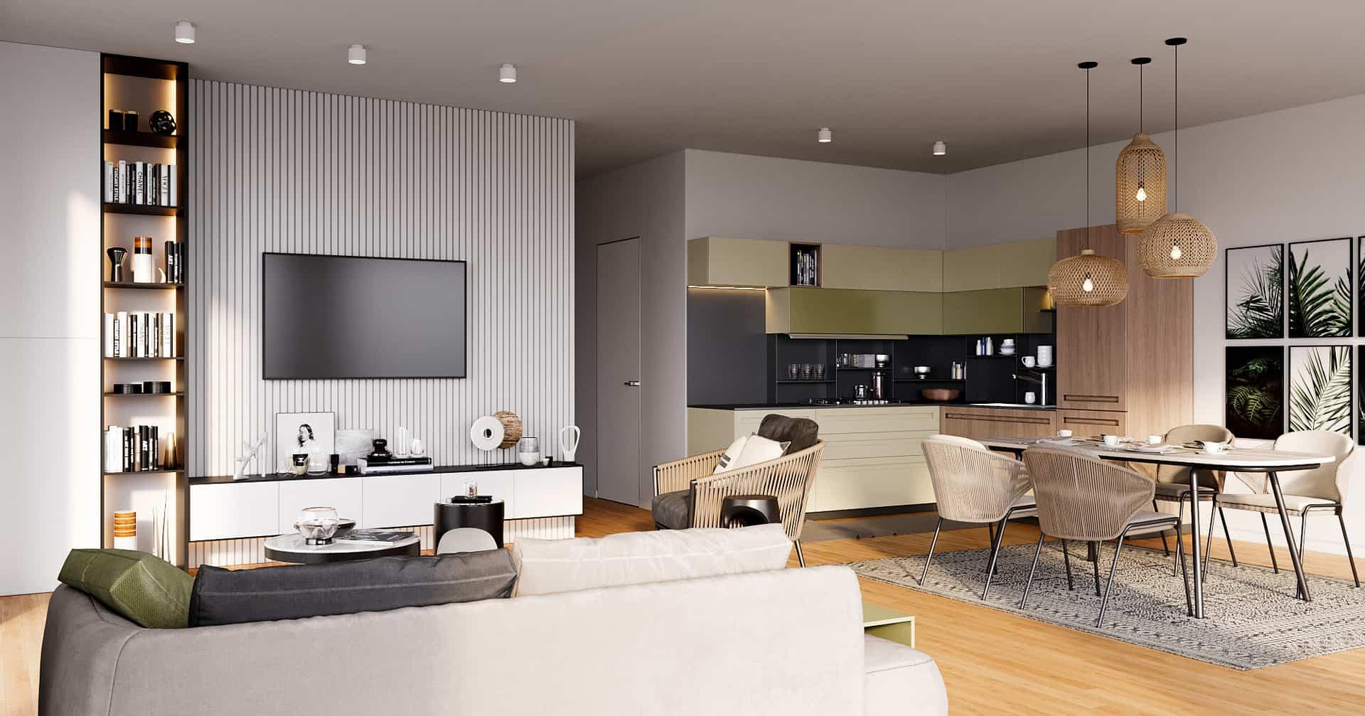 Saxonyards Wohnung mit Einbauküche, Esstisch, Sofa, Fernseher, Regal, Lampen